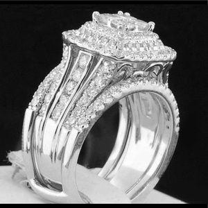 Jewelry - Brand New Silver CZ Two Piece Ring Set